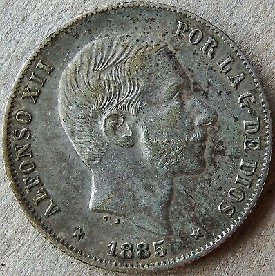 1885 Philippines Spanish KM#149 Alfonso XII 20 Centimos Circulated