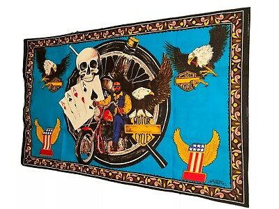 Vintage 70's Motorcycle Felt Wall Tapestry HA-VA-TI David Mann 54x34 NOS IN BAG!