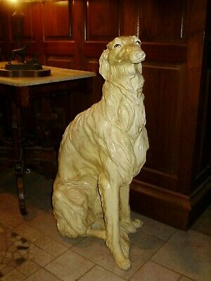 Vintage Life Size Borzoi Russian Wolf Hound Dog Statue Hollywood Regency Rare