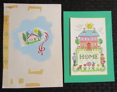 """NEW HOME House on Tag & with Family & Sun 6x8.5"""" Greeting Card Art LOT of 2"""