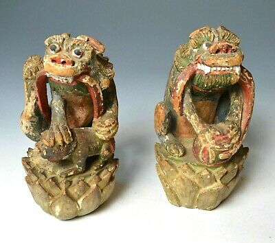 Vintage Antique Chinese Foo Dogs Wood Carving - Foo Dogs Lion Carving - Folk Art