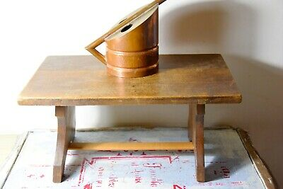 Vintage Primitive Small Wooden Stool - Small Old Wooden Stool - Low Stool 2