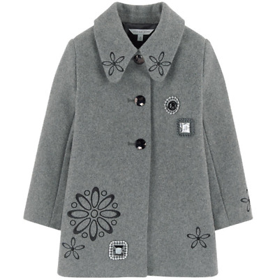 Worn Once! Size 10 Little Marc Jacobs Grey Coat RRP £200 With Cabochons