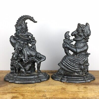 Punch & Judy pair of heavy black painted cast iron door stops - 9lb / 4.5kg each