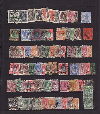 MALAYA STRAITS SETTLEMENTS Collection of 50+ STAMPS to $5 USED Mixed Condition