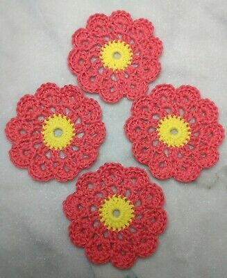 Crochet Coasters Handmade Doily Vintage Style Set Of 4 100% Cotton Coral/Yellow