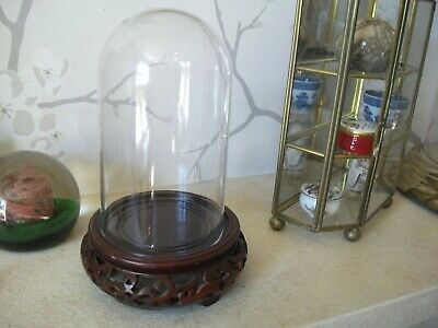 "Chinese carved BROWN/RED  wood display pot stand with PERSPEX dome 7"" HIGH"