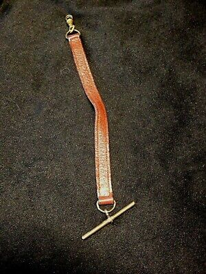 Old Vintage Leather Pocket Watch Strap Chain 17 cm Military ?