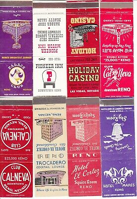 (8) Vintage Matchbook Covers Reno Nevada