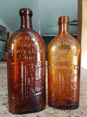 2 Bottles, WARNERS SAFE KIDNEY & LIVER CURE & REMEDIES CO.  ROCHESTER, N.Y.