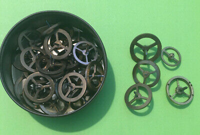 Vintage Clock Balance Wheels And Staffs Used Job Lot Of 30 Wheels