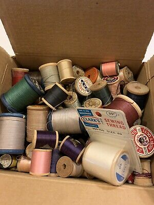 Antique Vintage Wooden Spools Sewing Thread Mixed Sizes Color Box Full
