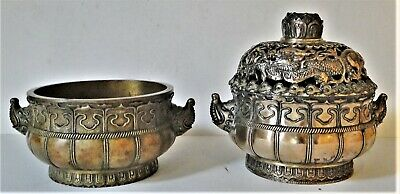 Incredible Pair Of Antique Matching Chinese & French Censers Burners Both 19Th C