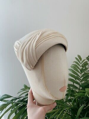 Vintage 1950s Silk Bridal Hat Wedding Couture Dior Draped Ivory Goodwood Revival