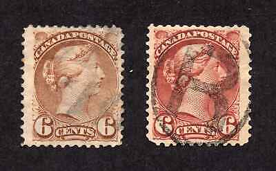 Canada #39 & 43 6 Cent Yellow Brown & Red Brown Queen Victoria Small Queen Used