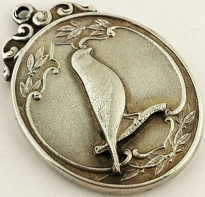 Beautiful Antique Solid Silver Albert Pocket Watch Chain Cage Bird Fob Medal