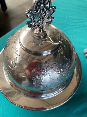 Antike Butterdose -Caviardose 1880 Silverplated Vogelmotiv