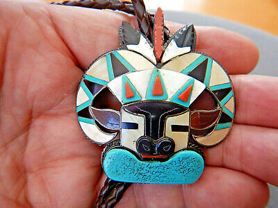 WALLACE Zuni Multi-Stone Inlay Sterling Silver Bighorn Sheep Ram Bolo Tie