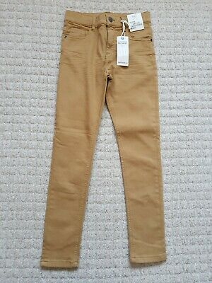 BNWT Boys Age 9-10 Years Marks And Spencer Tan Skinny Leg Cotton Trousers