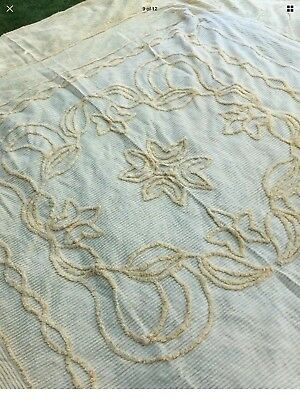 Vintage Pale Lemon Old candlewick bedspread top cover blanket throw double bed