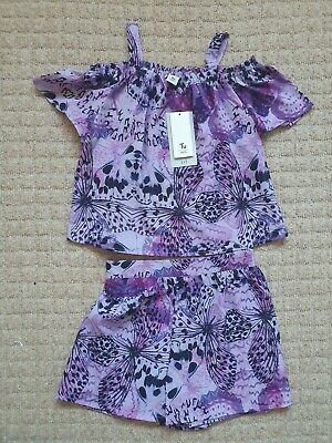 BNWT TU Girls Age 6-7 Years Purple Butterfly Shorts & Top Outfit