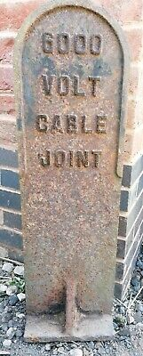 Cast Iron Warning/Marker Post, '600 VOLT CABLE JOINT' Very Heavy Solid Railway.