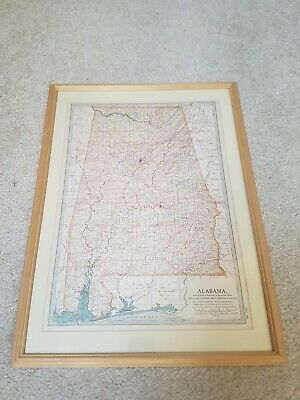 Framed Antique Map of Alabama 1903 Colour USA