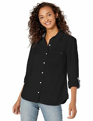 NWT Tommy Hilfiger Women's Roll Tab Button Down Shirt Size L Black
