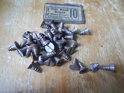 "44 Vintage flat Head Bright Steel Wood Screws 1/2""  #10  USA old hardware"