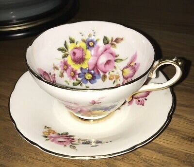 Pretty Royal Sutherland Staffordshire Fine Bone China Floral Tea cup and Saucer