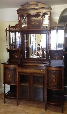 Fine Antique Edwardian Rosewood Inlaid Marquetry Display Cabinet Cupboard