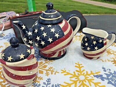 Ceramic teapot, sugar with lid, and creamer in Red, White & Blue ~American Flag