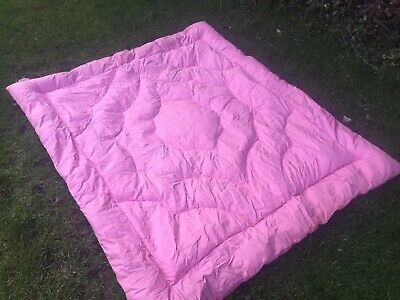 old Vintage Double bed Topper Feather Quilt Eiderdown cover throw bedspread Pink
