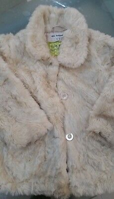 Marks And Spencer Autograph Girls beige fluffy jacket Coat Age 4-5 good cond M&S