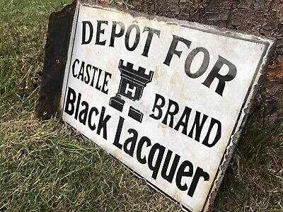 Enamel sign. original double sided advertising sign.Black Laquer