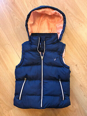 Young Dimensions Girls Blue Hooded Body Warmer With Pink Lining Age 9-10 VGC