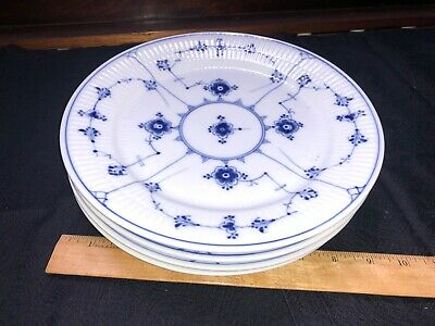 4 Royal Copenhagen Blue Fluted Plain Dinner Plates #183