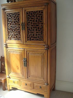 Authentic Antique Chinese Wooden Cabinet Handcrafted Wooden Hinges Asia Patina