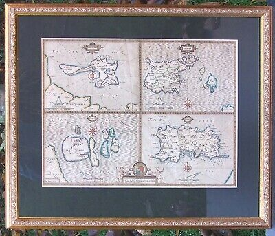 British Islands: map of Jersey, Guernsey, Holy Island & Farne John Speed, 1676