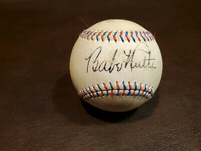Babe Ruth Red and Blue Stitched Autographed Baseball Reprint