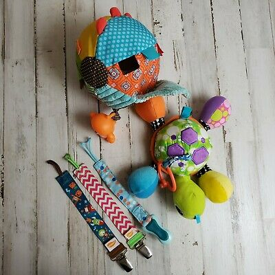 Five Piece Lot of Infant Toys/Pacifier Clip Holder Straps Unisex