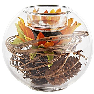 "FAUX SUNFLOWER, PINECONE CLEAR GLASS TEALIGHT HOLDER, NEW, 4""D x 3.5""H, PIER 1"