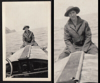 REGRETFUL EMBARRASSMENT BOAT WOMAN SITS SUICIDAL on BOW ~ 1920s VINTAGE PHOTO