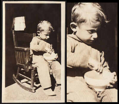 GLOWING FARM BOY in DENIM COVERALLS on ROCKING CHAIR ~ 1910s VINTAGE PHOTO