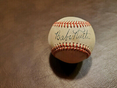 Babe Ruth Red Stitched Autographed Baseball Reprint