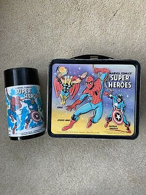 Vintage 1976 Marvel Comics' Super Heroes Metal Lunch Box & Thermos