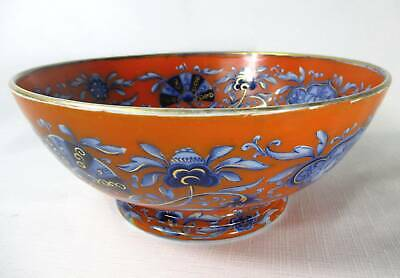 Rare Staffordshire  Flow Blue Red Ground Pedestal Chinoiserie Punch Bowl