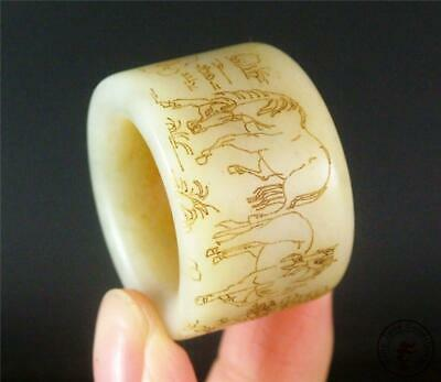 Antique Old Chinese Celadon Nephrite Jade Archer's Thumb Ring horses & landscape