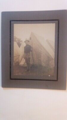Spanish American War: US  mounted albumen photograph of Sergeant in camp
