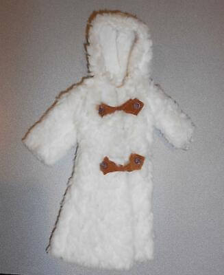 VINTAGE BARBIE CLONE MADDIE MOD WHITE LAMB FUZZY WINTER COAT w/ SUEDE TOGGLES